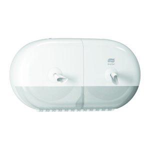 Dupla tekercses wc papír adagoló nagy forgalmú mosdóhelyiségekbe, fehér, TORK SmartOne Mini