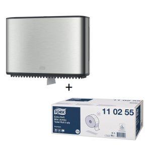 Wc papír csomag: Toalettpapír adagolóval csomag